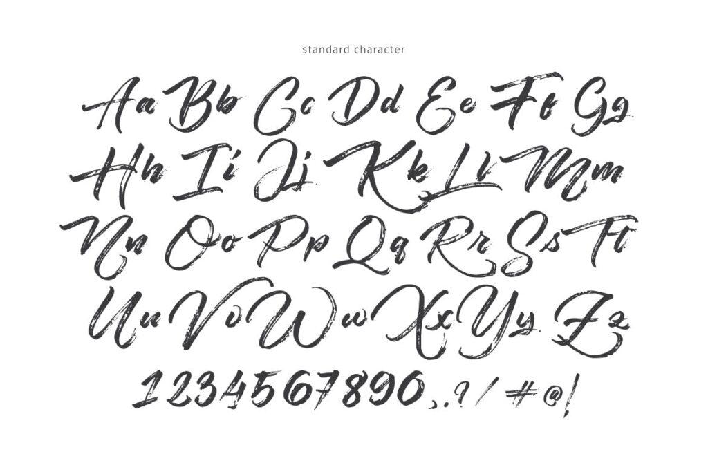手绘与独特的粗糙的笔触/英文粗糙毛笔字体Angelow Typeface插图(6)