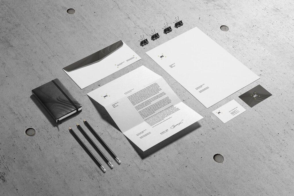 高端优质商务品牌办公文具VI模型样机素材下载Business Stationery Branding Mockup插图(7)