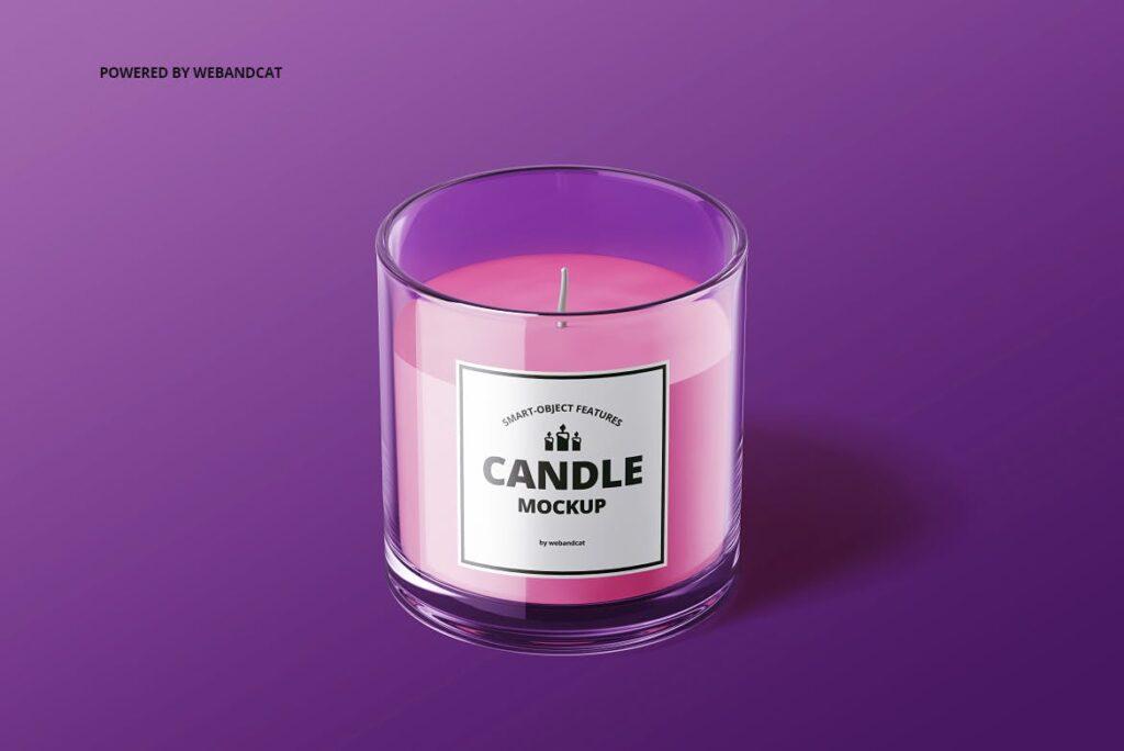 5个高质量蜡烛玻璃模型样机展示效果图Candle in Glass Mockup插图(7)