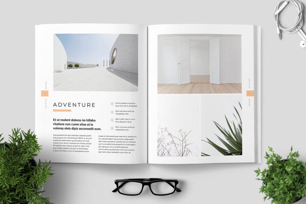 简洁优雅时生活方式或销售展示画册模板素材下载Clean Minimal Magazine Design插图(7)
