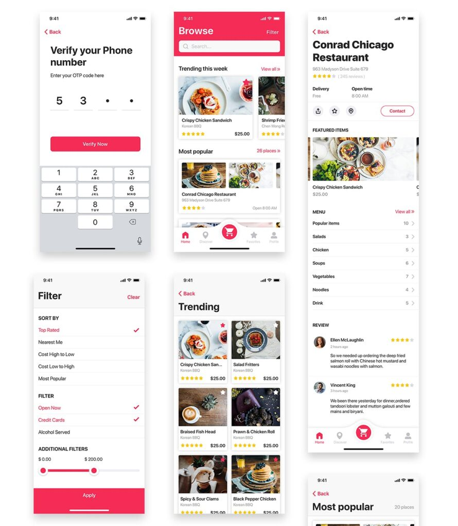 餐厅/食物和食谱应用程序UI组件模板素材Foody Food App UI Kit插图(7)