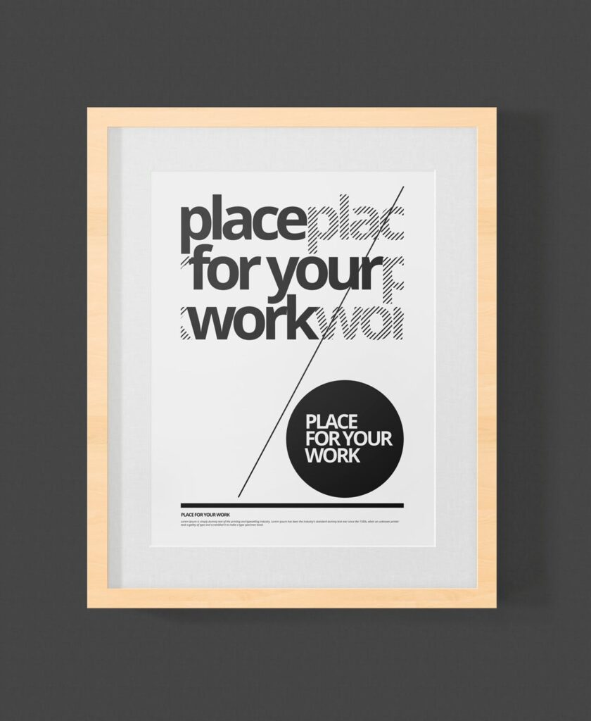黑白艺术相框模型样机素材下载Frame For Your Work Pd73r4插图(7)
