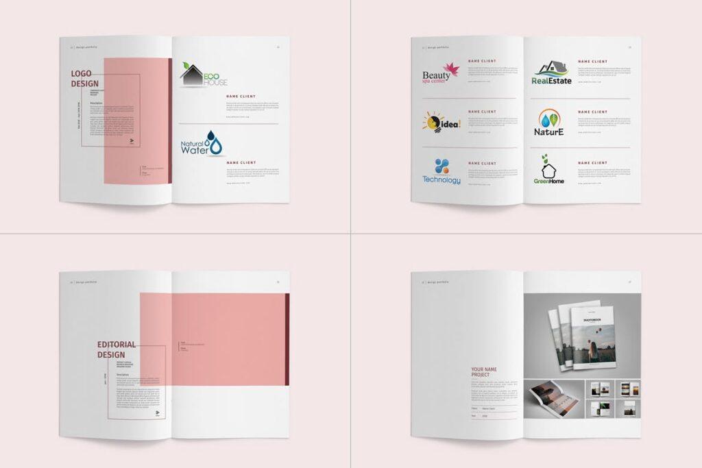 精致文艺室内设计画册模版素材Graphic Design Portfolio Template插图(7)
