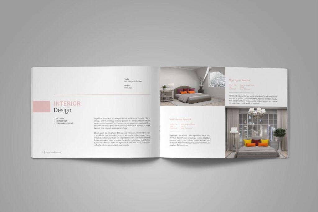 设计师工作产品/室内设计/家居设计展示画册模版Graphic Design Portfolio Template插图(7)