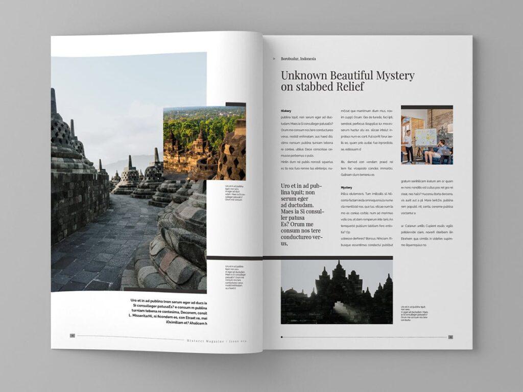 复古风格历史介绍类型杂志模板素材Historct Magazine Template插图(7)