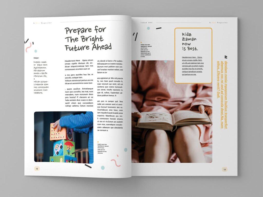 关爱儿童教育/公益事业宣传画册模板Kidea Magazine Template插图(7)