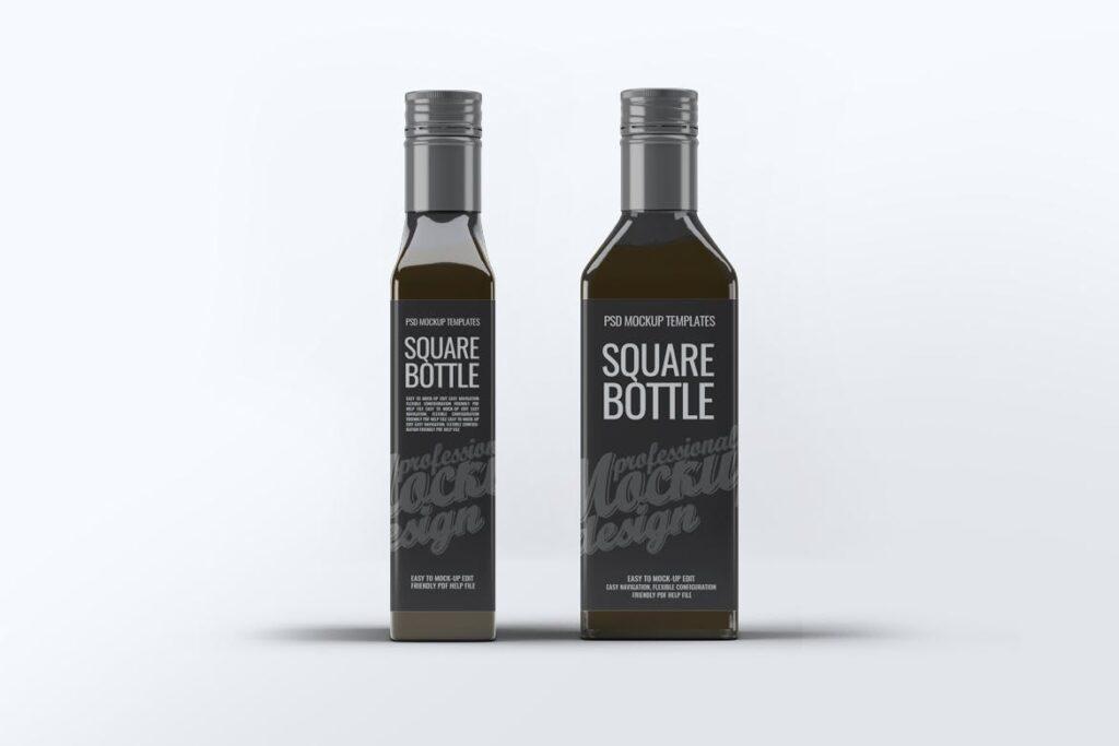 厨房通用调味瓶/黑色方形玻璃瓶模型样机素材Square Glass Bottle MockUp插图(8)
