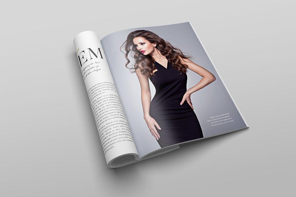时尚服装杂志/封面/内页样机展示US Letter Magazine Mockup VN7KUN插图(5)