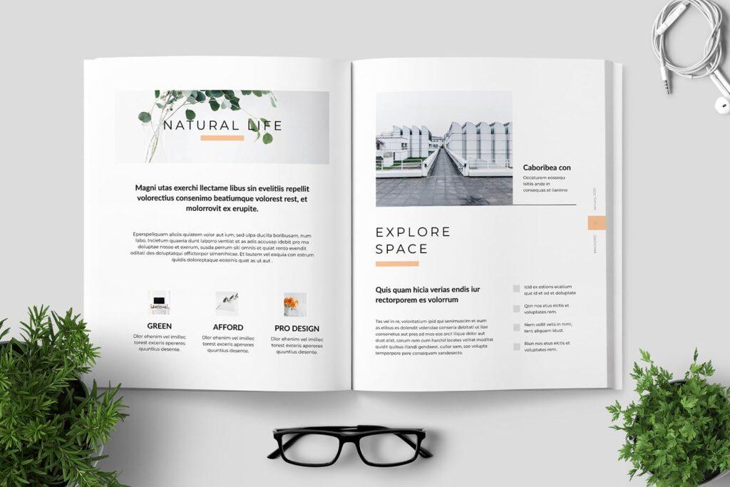 简洁优雅时生活方式或销售展示画册模板素材下载Clean Minimal Magazine Design插图(8)