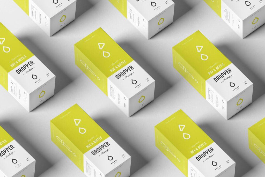 简约医药滴瓶方形包装盒样机包装模型样机素材下载Dropper Bottle MockUp 4Y7FR插图(8)