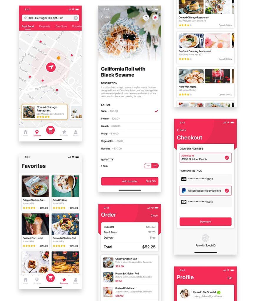 餐厅/食物和食谱应用程序UI组件模板素材Foody Food App UI Kit插图(8)