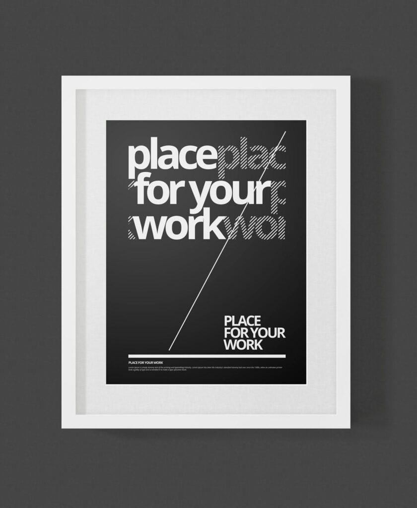 黑白艺术相框模型样机素材下载Frame For Your Work Pd73r4插图(8)