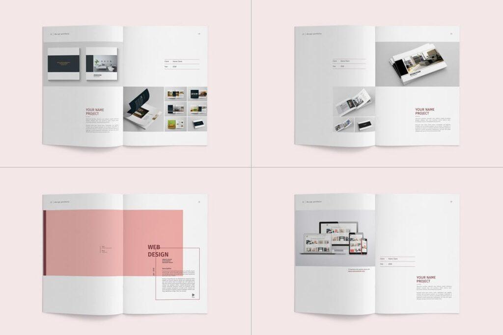 精致文艺室内设计画册模版素材Graphic Design Portfolio Template插图(8)