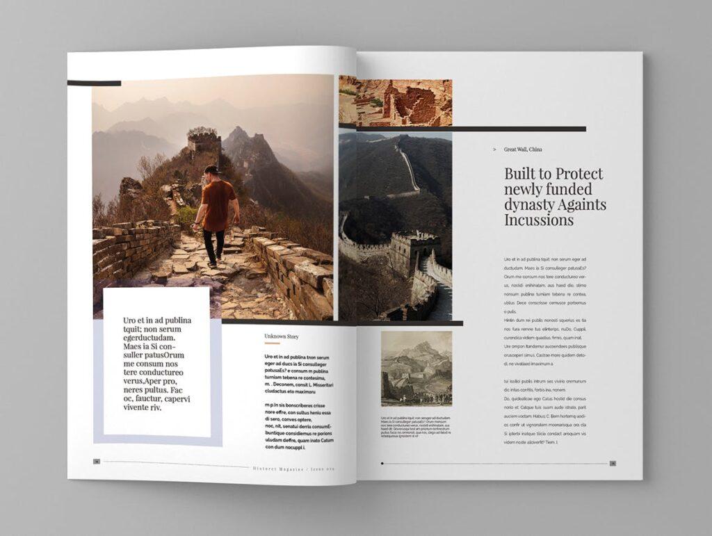 复古风格历史介绍类型杂志模板素材Historct Magazine Template插图(8)