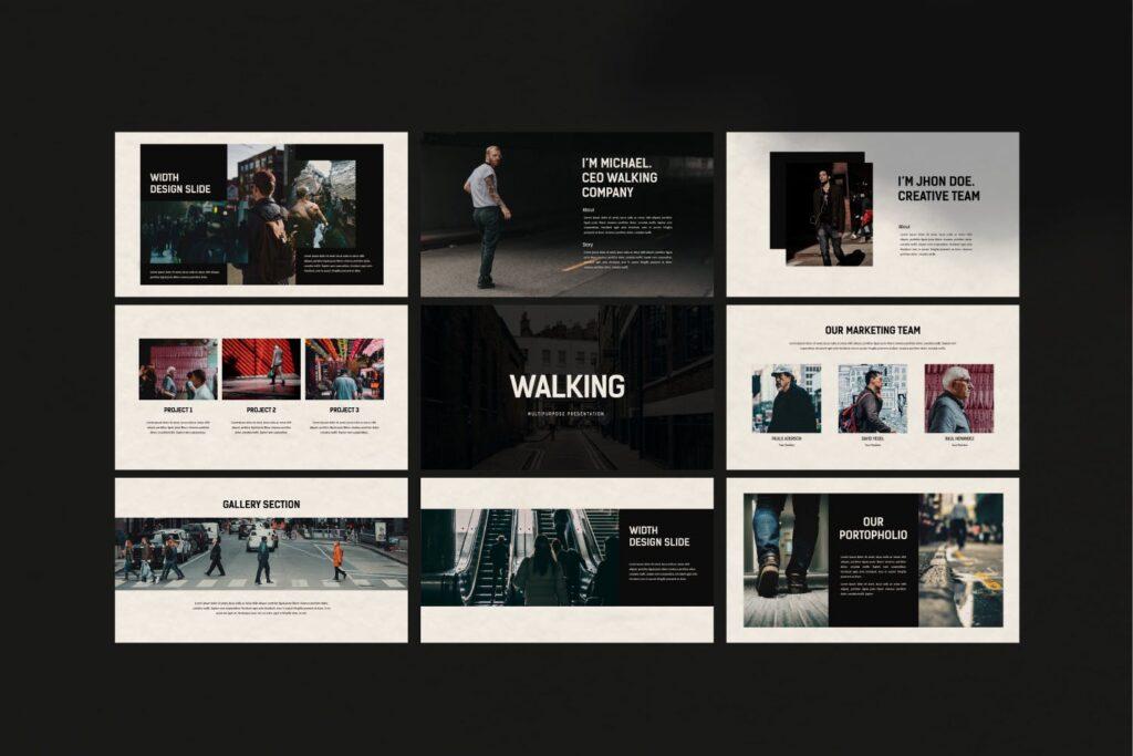 出行行业数据调研及用户分析画像PPT幻灯片模板Walking Powerpoint插图(6)