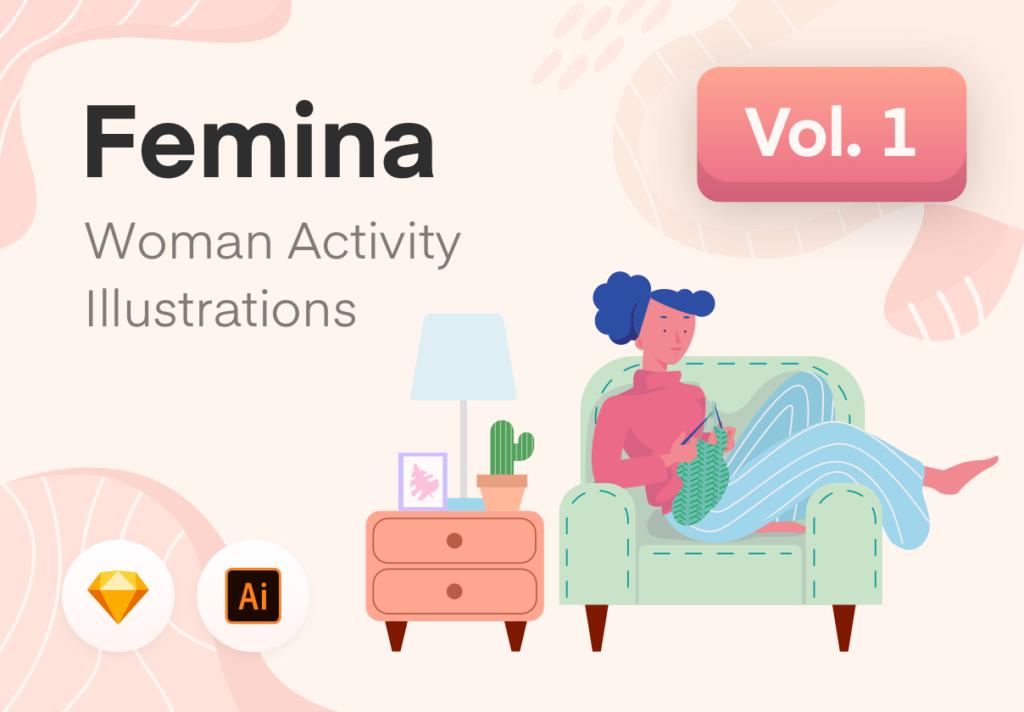 居家生活类相关扁平化插画素材UI素材下载Femina Woman Daily Activity – Vol.1插图