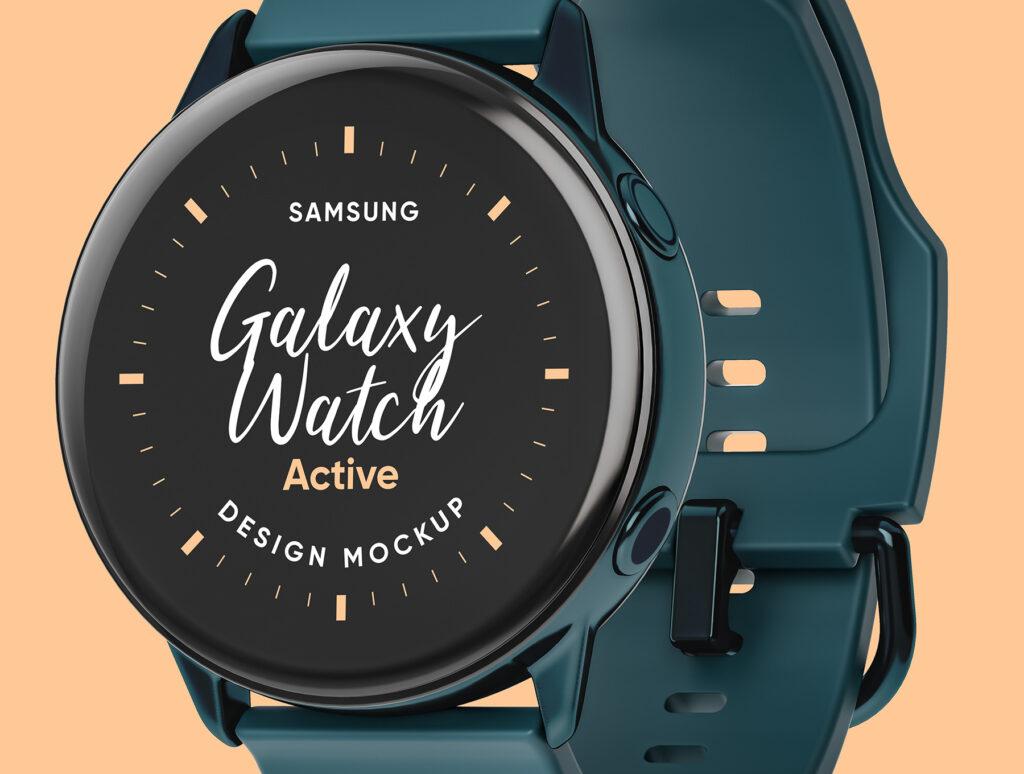 三星手表场景透视样机素材下载Samsung Galaxy Watch Design Mockup插图(1)