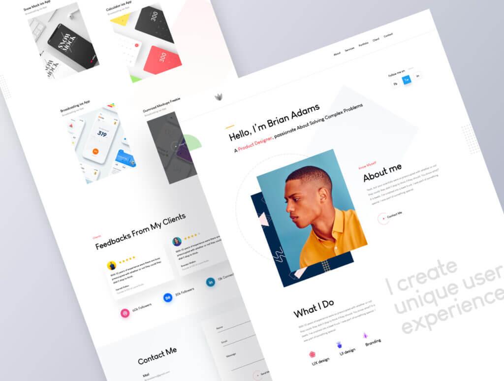 企业门户网站web端素材下载Sleek Portfolio HTML Template插图(2)