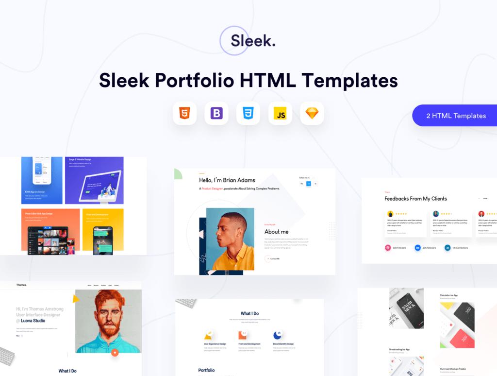 企业门户网站web端素材下载Sleek Portfolio HTML Template插图(1)