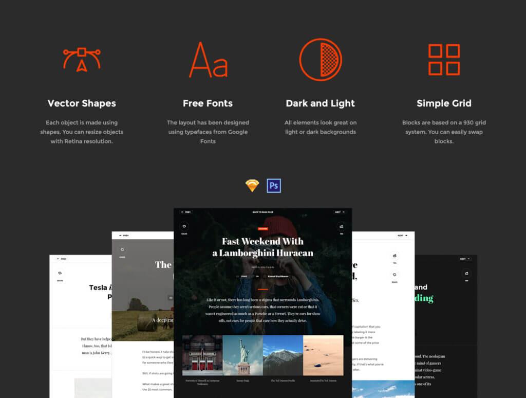 现代博客/杂志或新闻门户网站素材下载Snug. UI Kit插图(2)