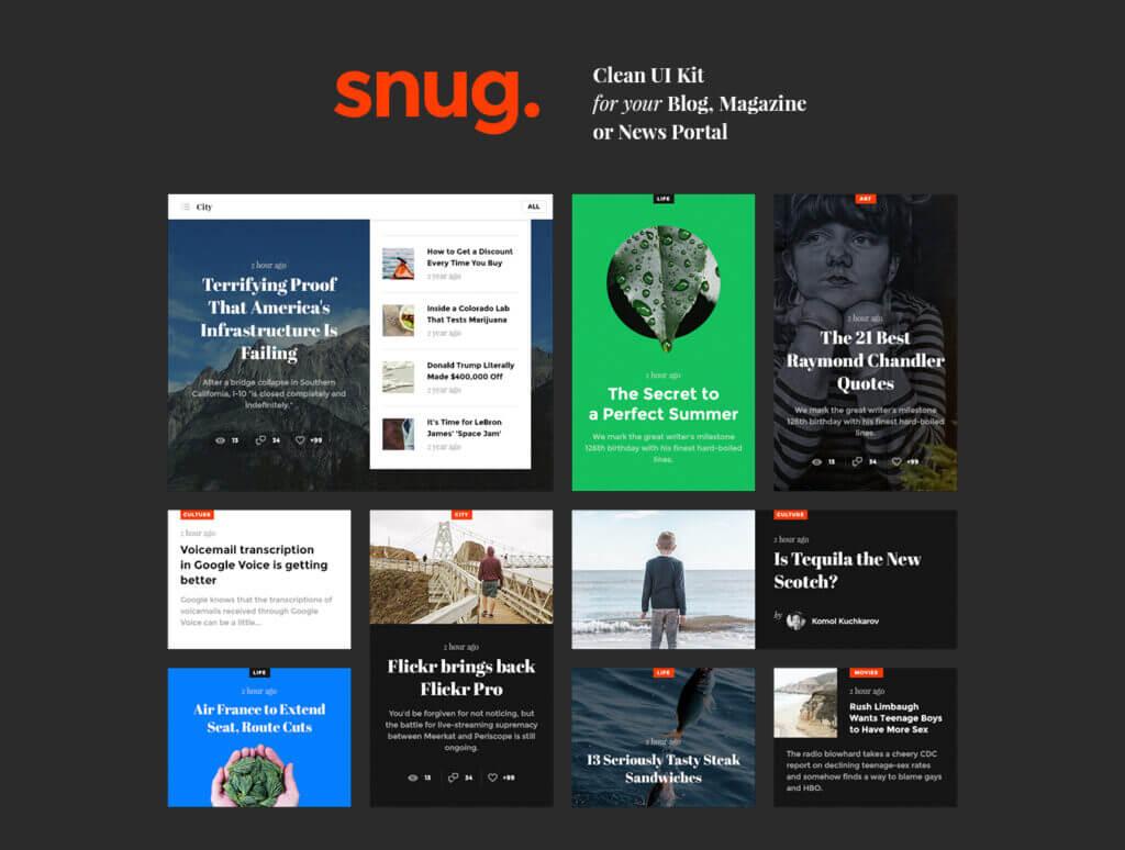 现代博客/杂志或新闻门户网站素材下载Snug. UI Kit插图(1)
