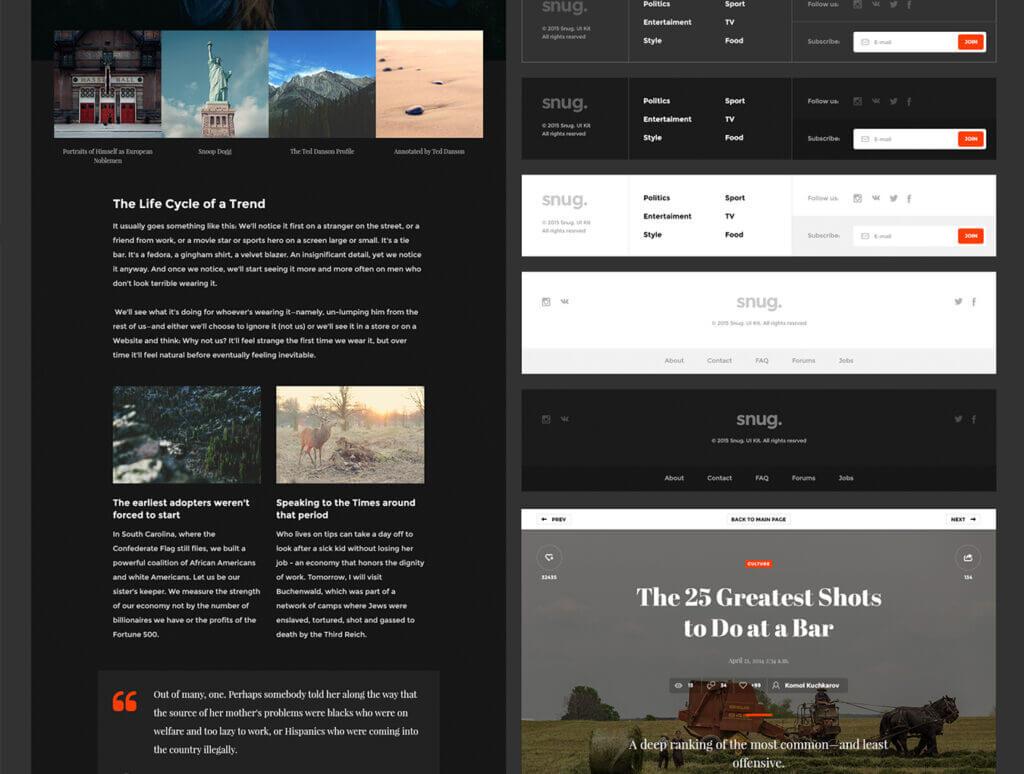 现代博客/杂志或新闻门户网站素材下载Snug. UI Kit插图(3)