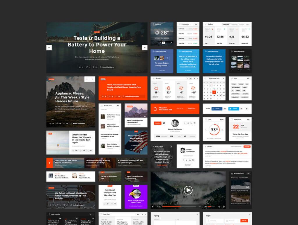 现代博客/杂志或新闻门户网站素材下载Snug. UI Kit插图(4)