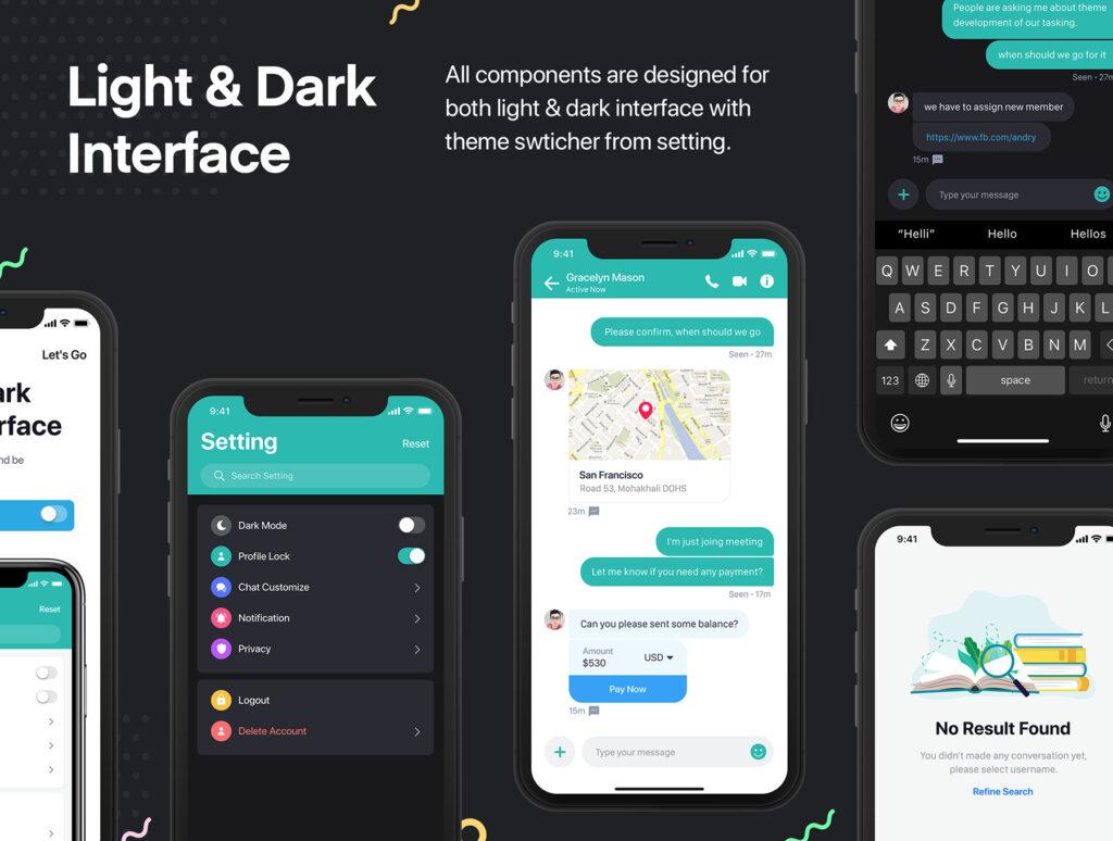 图片社交移动界面概念设计套件/日间和夜间两种主题套件源文件下载Sophie Messaging app ui kit插图(3)