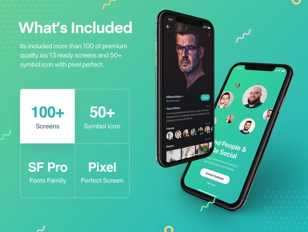 图片社交移动界面概念设计套件/日间和夜间两种主题套件源文件下载Sophie Messaging app ui kit插图(4)