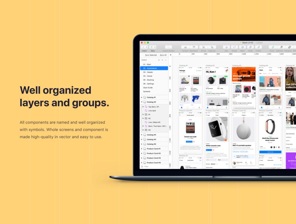 在线购物类电商购物APP概念设计素材源文件下载Stack UI Kit插图(2)