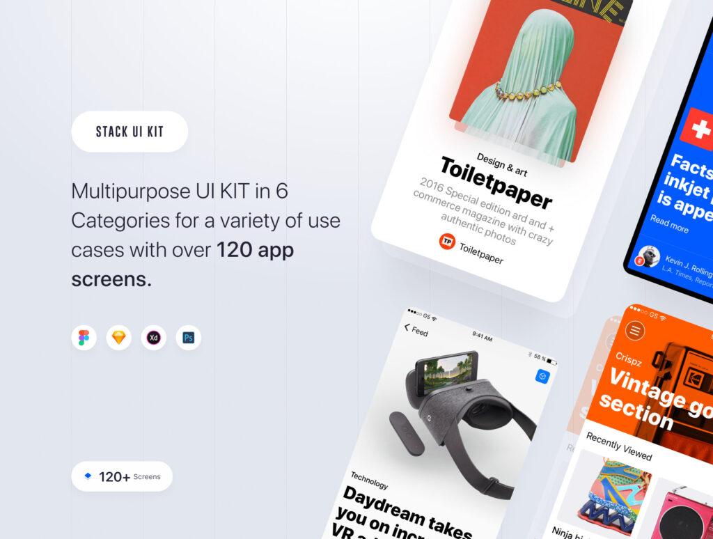 在线购物类电商购物APP概念设计素材源文件下载Stack UI Kit插图(1)
