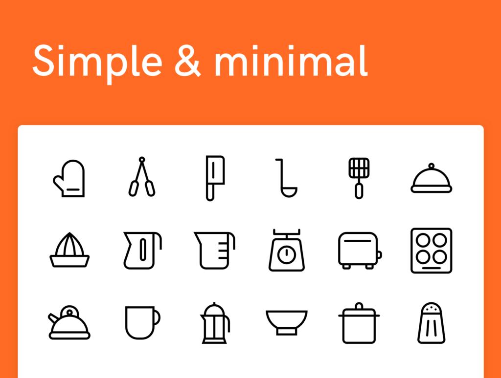 100个美食餐饮类矢量线性图标下载Super Simple Kitchen Icons 100插图(2)