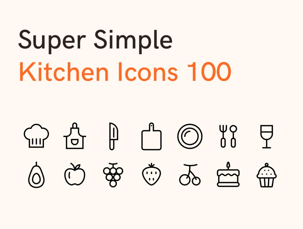 100个美食餐饮类矢量线性图标下载Super Simple Kitchen Icons 100插图(1)