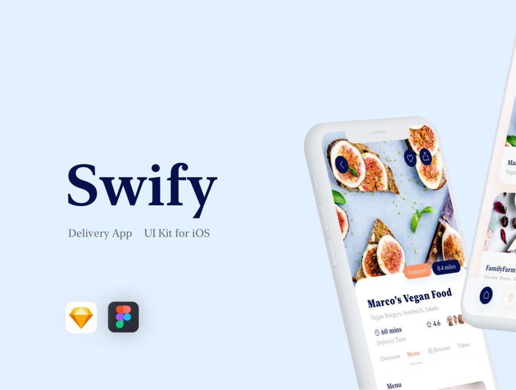 餐厅及订餐APP美食类界面设计套件下载Swify delivery app iOS UI Kit插图(1)
