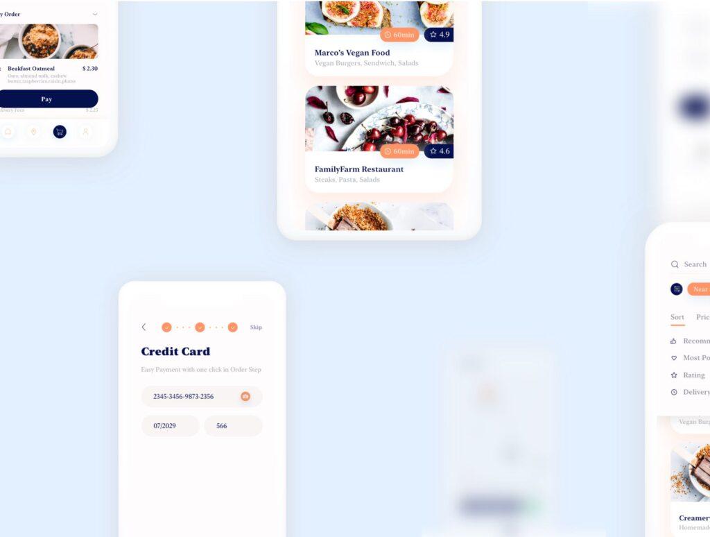 餐厅及订餐APP美食类界面设计套件下载Swify delivery app iOS UI Kit插图(5)