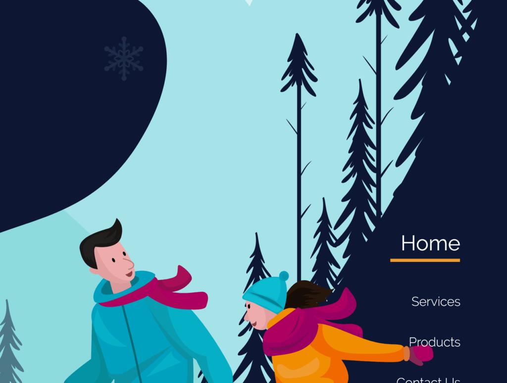 网站banner插图/冬日滑雪矢量插画素材TunTun Startup Website Page插图(1)