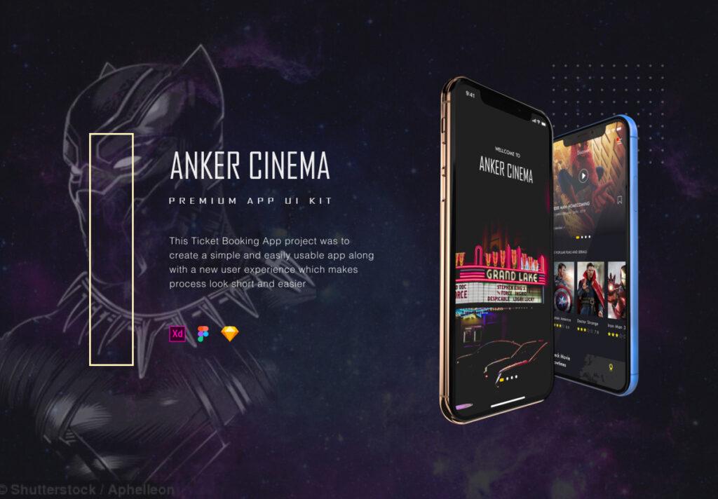 订票助手主题概念UI界面素材设计套件ANKER Cinema ticket booking app UI kits插图