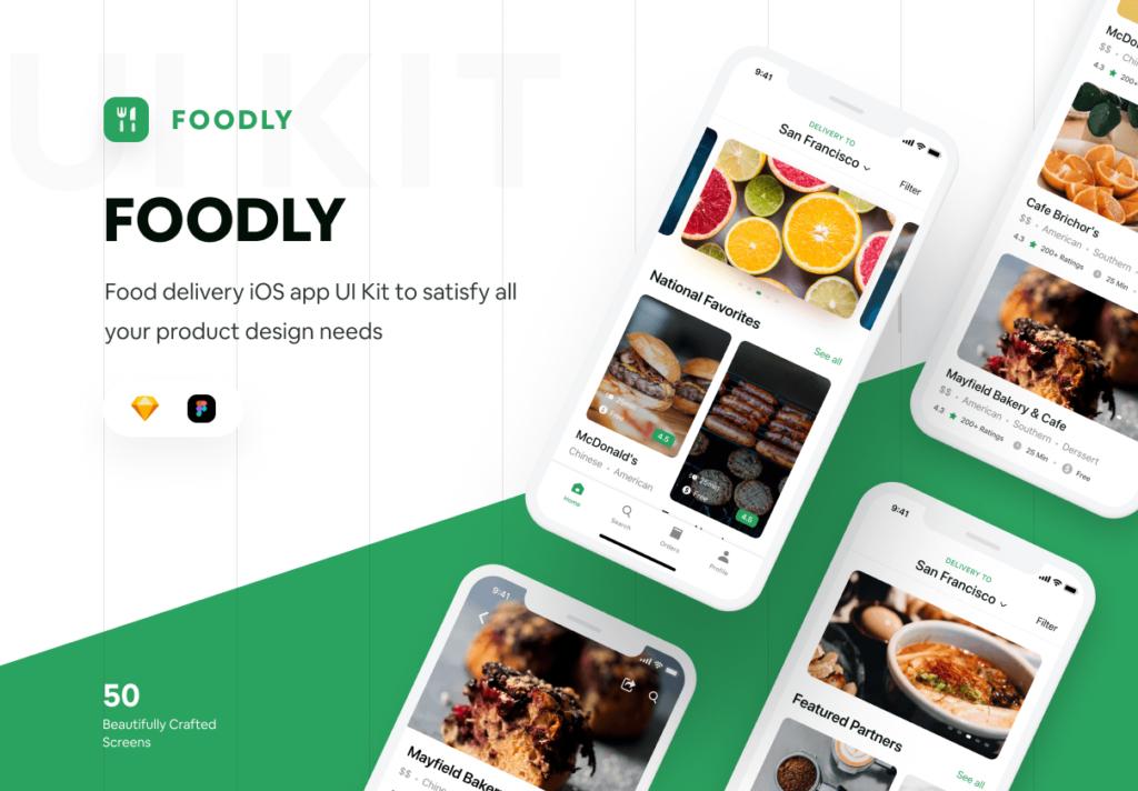 食品配送/美食定制外卖类iOS应用界面设计套件素材下载Foodly iOS UI Kit插图