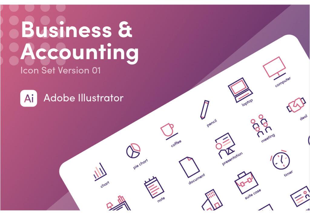商业和会计图标主题线性图标文件源文件下载Business and Accounting插图