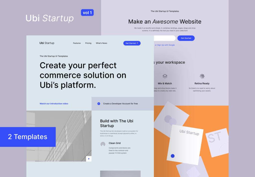 极简风互联网概念企业网站主题设计素材Ubi Startup Templates插图