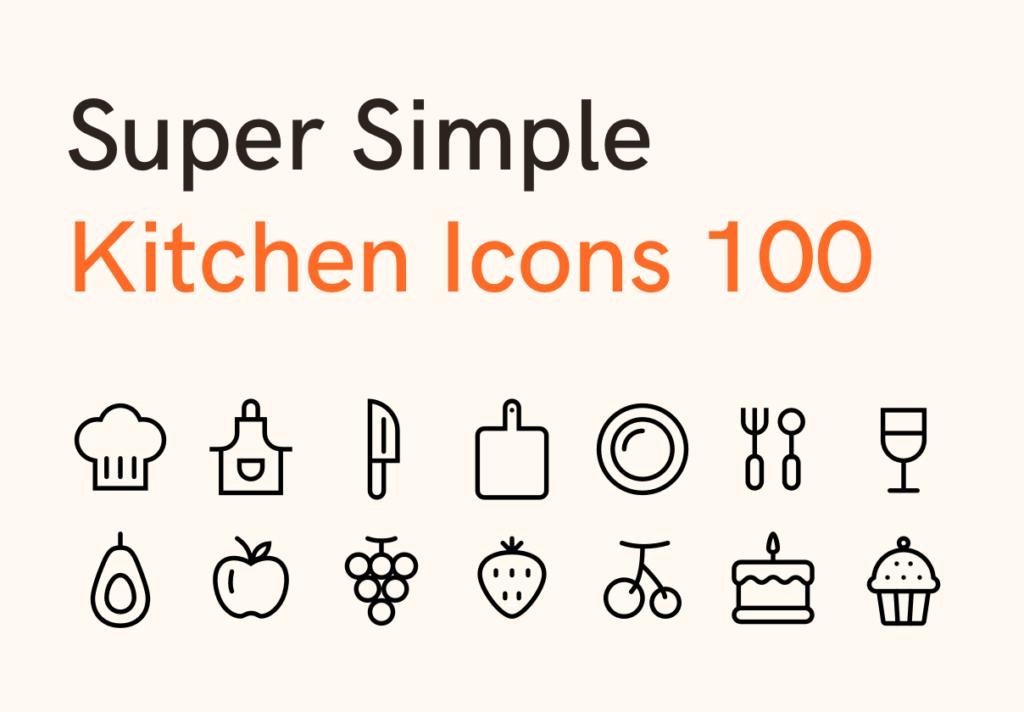 100个美食餐饮类矢量线性图标下载Super Simple Kitchen Icons 100插图