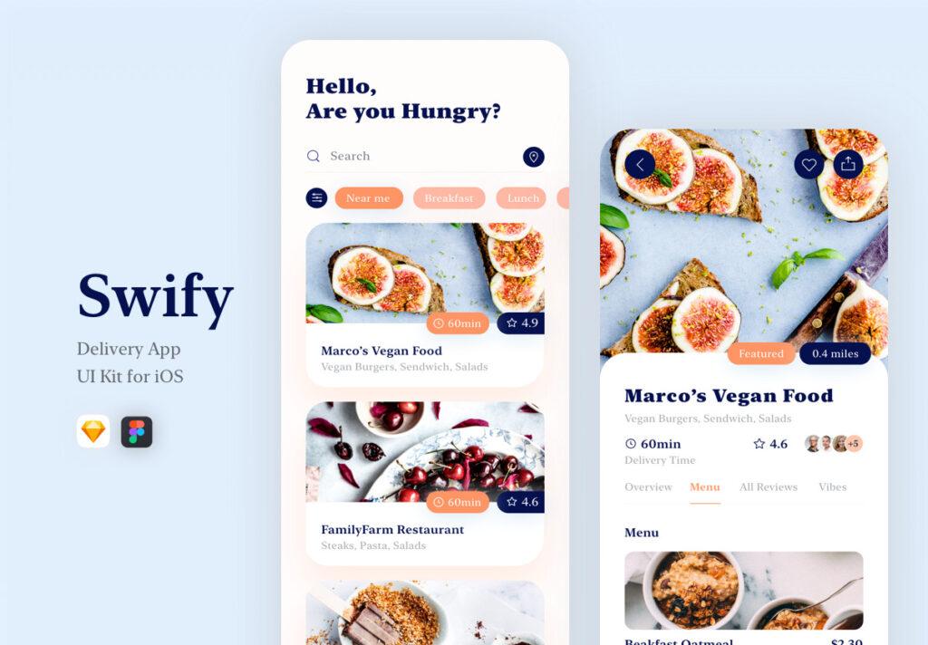 餐厅及订餐APP美食类界面设计套件下载Swify delivery app iOS UI Kit插图