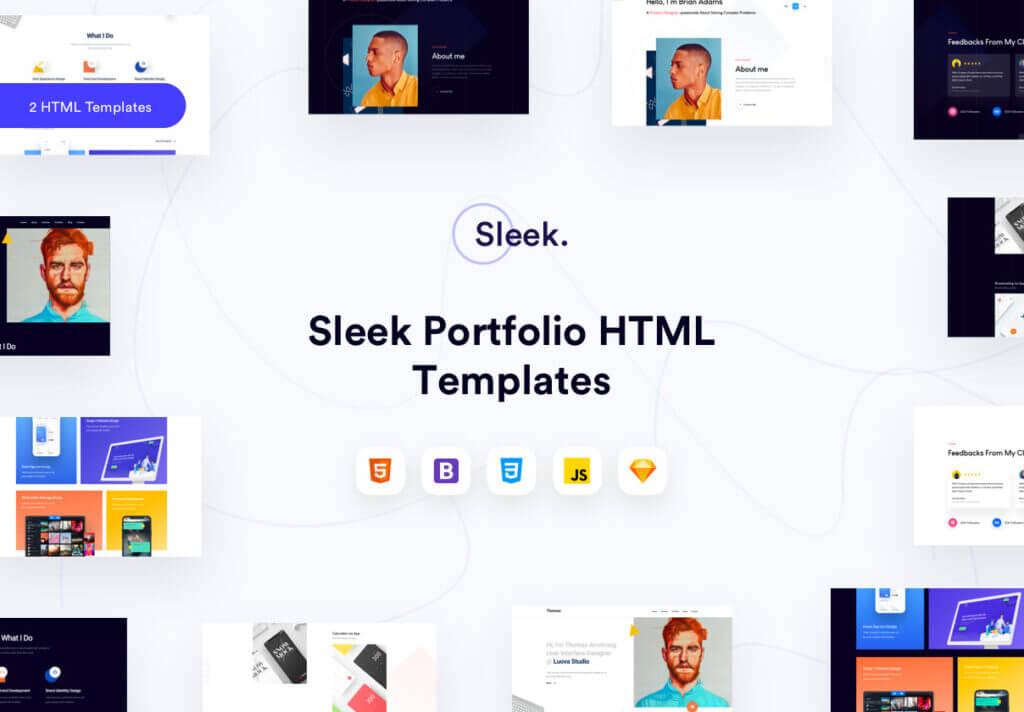 企业门户网站web端素材下载Sleek Portfolio HTML Template插图