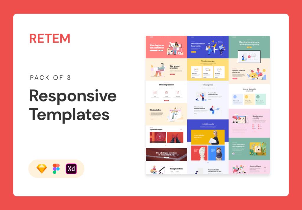 互联网行业响应式网站UI模板素材Responsive Template插图