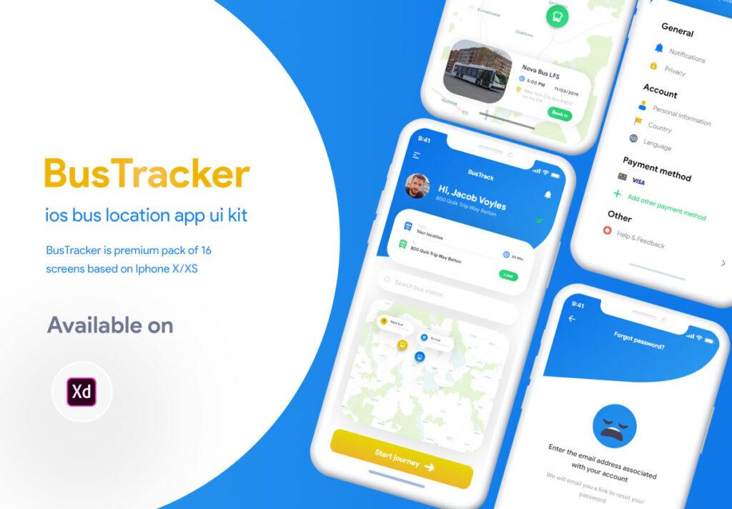 巴士出行类定位软件UI设计套件模型下载BusTracker app UI Kit插图