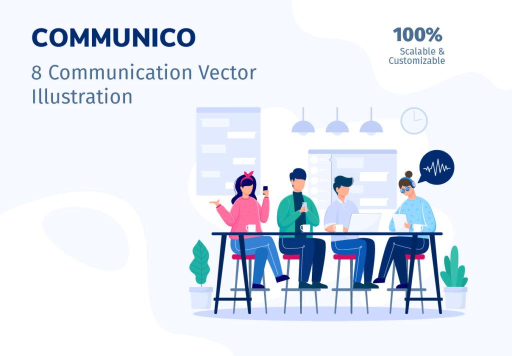 8个办公场景插画模素材模型下载COMMUNICO Illustration Kit插图