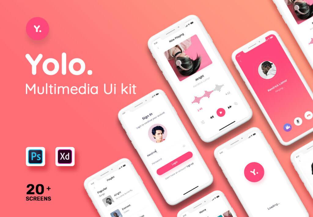 音乐移动应用程序社交媒体UIkit模型样机素材下载Yolo Multimedia Mobile App UI Kit插图