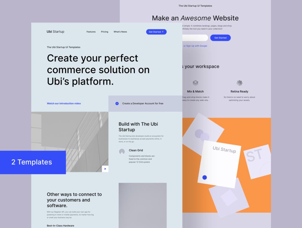 极简风互联网概念企业网站主题设计素材Ubi Startup Templates插图(1)