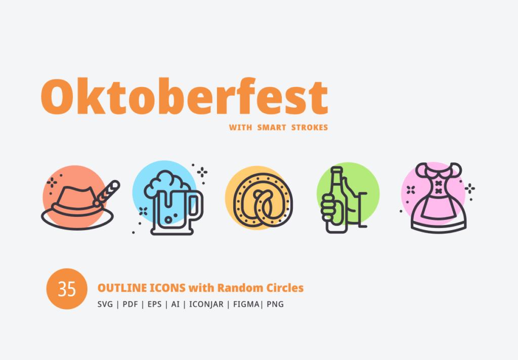 描边风啤酒派对场景线性图标素材下载Oktoberfest Random Circles插图