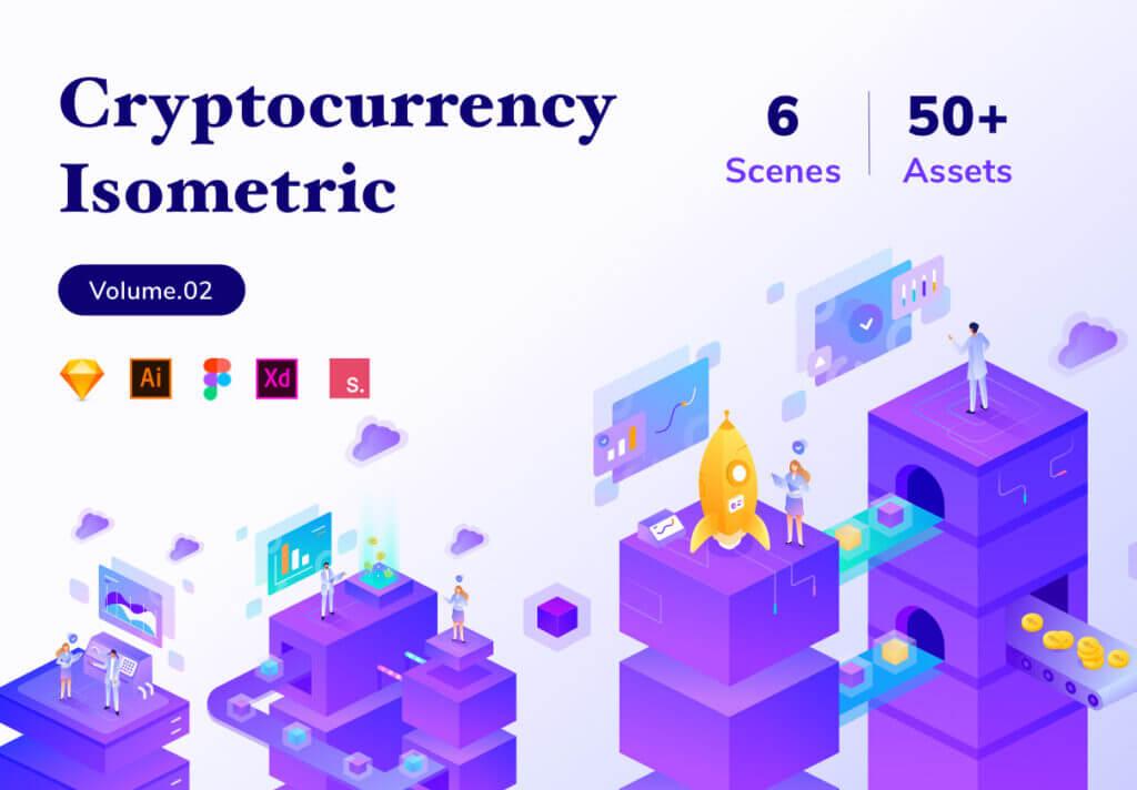 加密货币业务数据场景插画/2.5D插图工具包素材下载Cryptocurrency Business Isometric Kit Vol.02插图